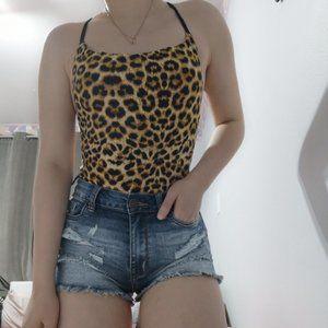 Shein Strappy Back Leopard Print Bodysuit Size M